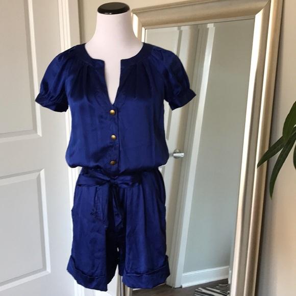 f7af96b60b6 Diane Von Furstenberg Pants - DVF silk romper jumpsuit! Blue silk size 0